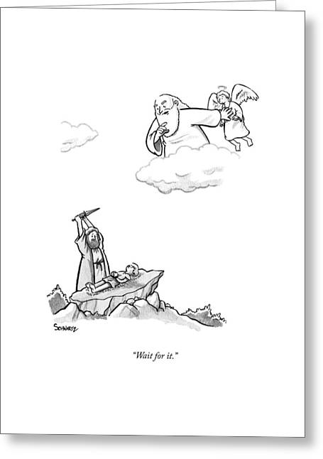 As Abraham Raises The Dagger Over His Son Greeting Card by Benjamin Schwartz
