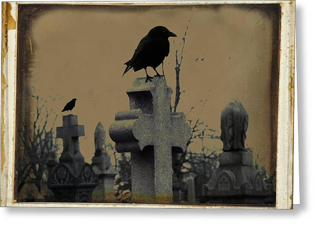 Dark Aged Crow Graveyard Greeting Card by Gothicrow Images
