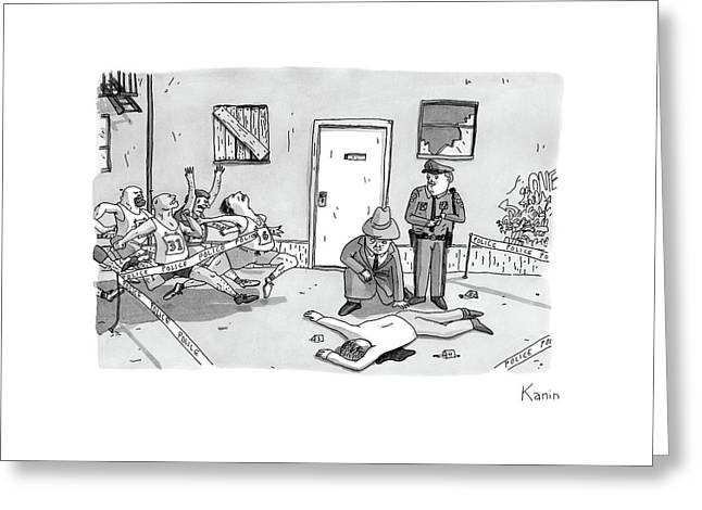 As Police And A Detective Examine A Murder Scene Greeting Card by Zachary Kanin
