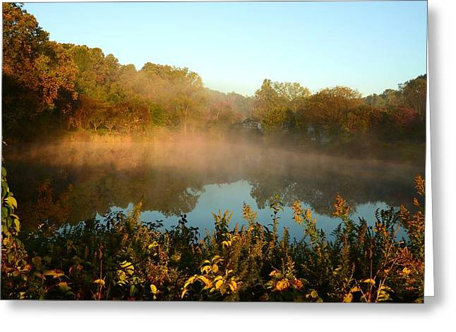 As The Sun And Mist Rise The Day Begins Greeting Card