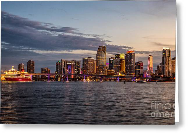 Sunsets Over Downtown Miami Greeting Card by Rene Triay Photography