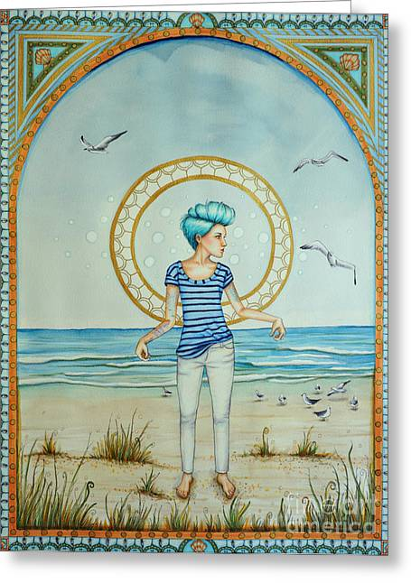As The Wind Blows Greeting Card by Lucy Stephens