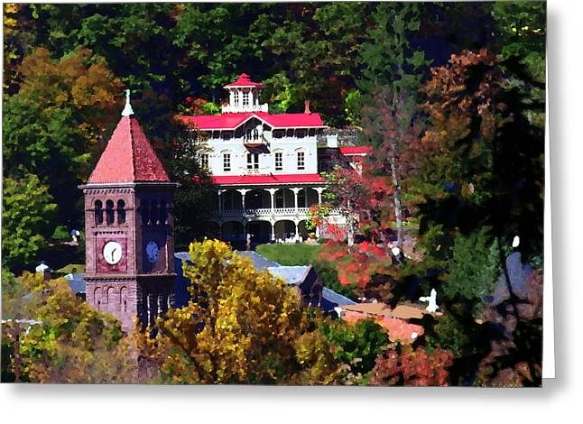 Asa Packer Mansion With Court House In Jim Thorpe Pa Greeting Card by Jacqueline M Lewis