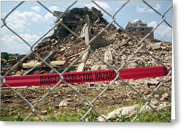 Asbestos Demolition Hazard Warning Greeting Card by Jim West