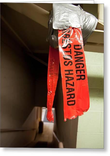 Asbestos Hazard Warning Label Greeting Card by Jim West