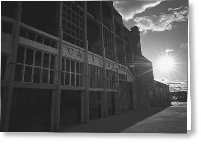 Asbury Park Nj Casino Black And White Greeting Card by Terry DeLuco