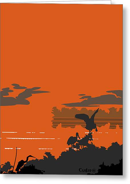 Abstract Tropical Birds Sunset Large Pop Art Nouveau Landscape - Right Side Greeting Card