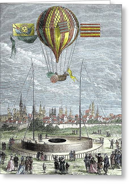 Ascent Of A Navigable Balloon Greeting Card by Sheila Terry