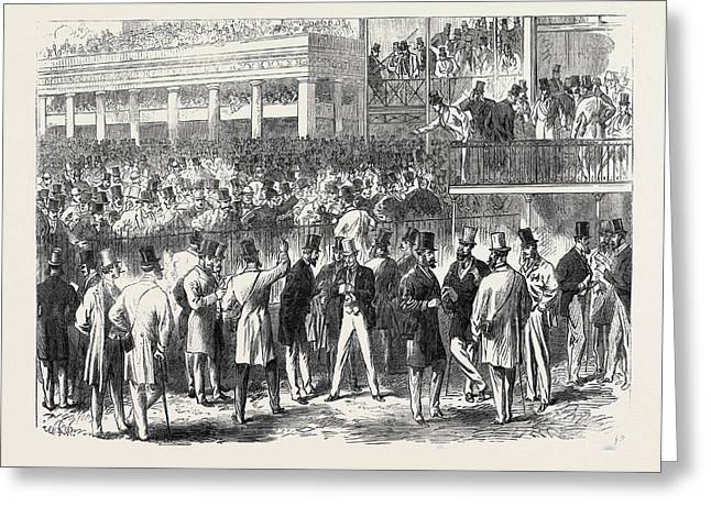 Ascot Races The Betting Ring At Ascot Uk 1866 Greeting Card by English School