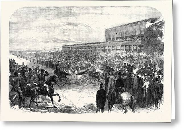 Ascot Races The Prince And Princess Of Wales Driving Greeting Card by English School