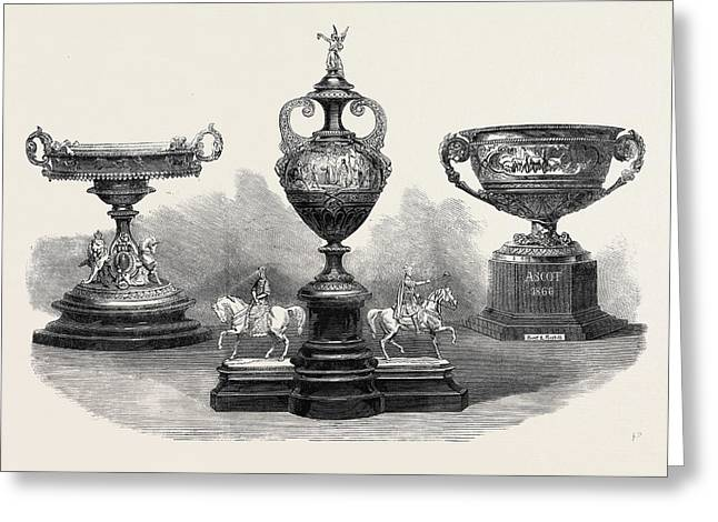 Ascot Races The Queens Gold Cup Left The Ascot Cup Centre Greeting Card by English School