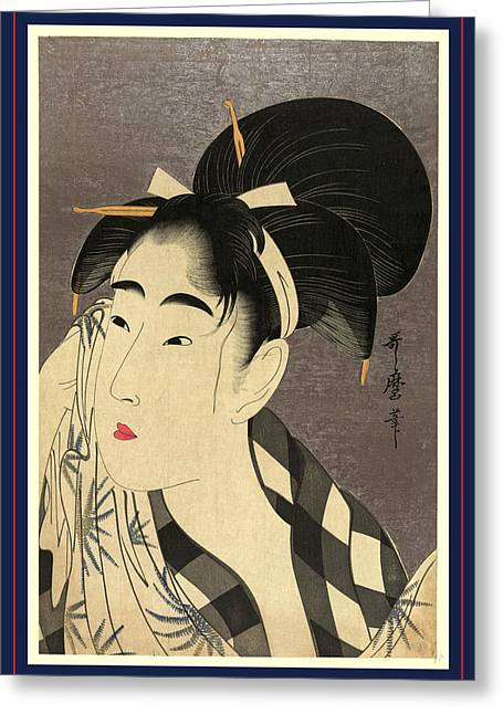 Ase O Fuku Onna, Woman Wiping Sweat. 1798 Greeting Card by Kitagawa, Utamaro (1753-1806), Japanese