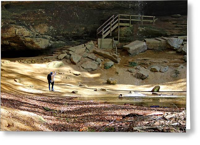 Ash Cave In Hocking Hills Greeting Card by Karen Adams
