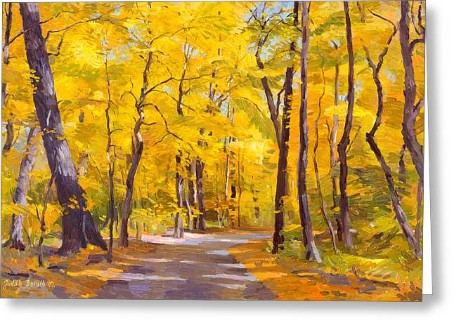 Ash Trees At Fall In The Morton Arboretum Greeting Card