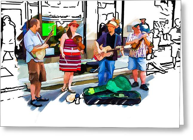 Asheville Buskers Greeting Card