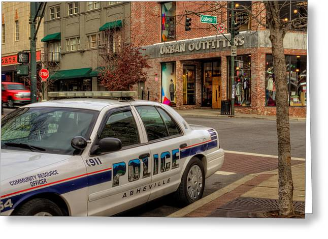 Asheville Pd Car 54 Greeting Card by Greg and Chrystal Mimbs