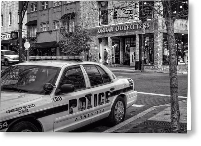 Asheville Pd Car 54 In Black And White Greeting Card by Greg and Chrystal Mimbs