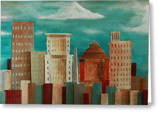 Asheville Skyline Greeting Card by Gray  Artus