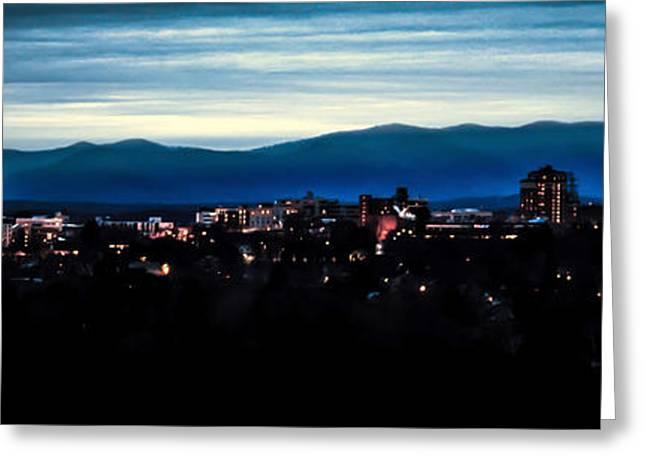 Asheville Skyline Greeting Card by Karen Wiles