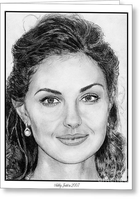 Fame Drawings Greeting Cards - Ashley Judd in 2007 Greeting Card by J McCombie