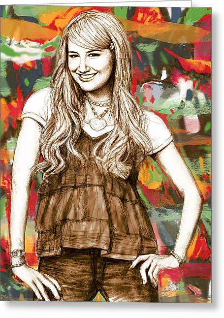 Ashley Tisdale - Stylised Drawing Art Poster Greeting Card
