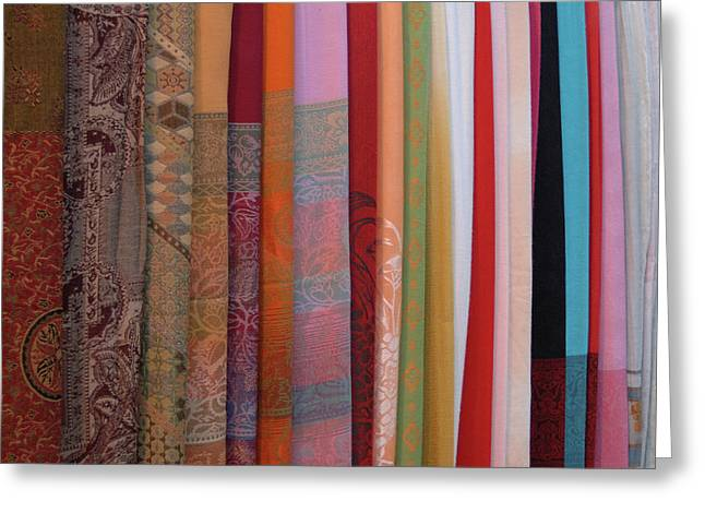 Asia, Vietnam Colorful Fabric For Sale Greeting Card by Kevin Oke