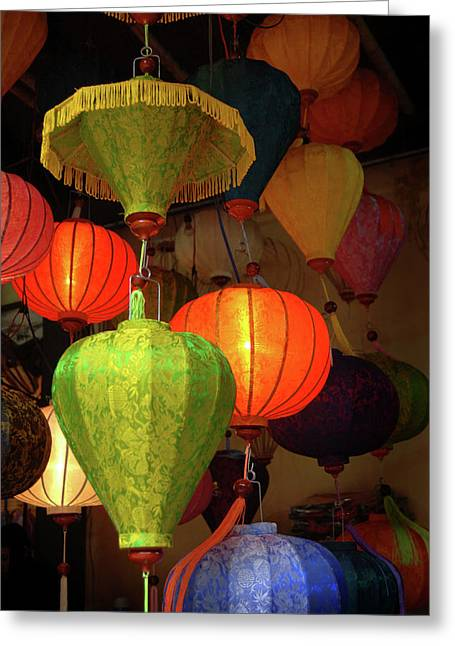 Asia, Vietnam Colorful Fabric Lanterns Greeting Card by Kevin Oke