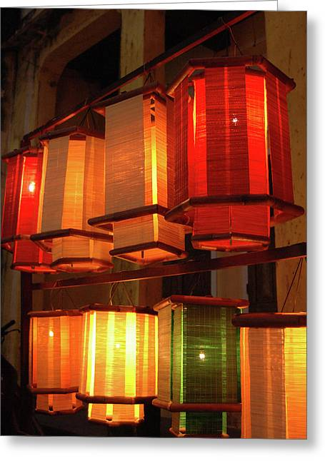 Asia, Vietnam Fabric Lanterns, Hoi An Greeting Card by Kevin Oke