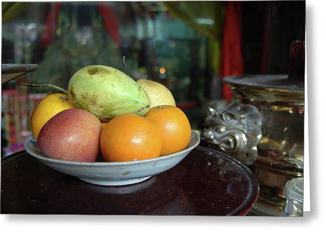 Asia, Vietnam Fresh Fruit In A Bowl Greeting Card by Kevin Oke