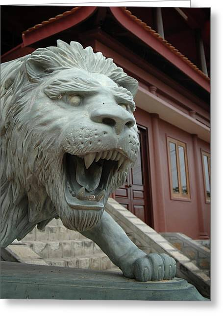 Asia, Vietnam Lion Sculpture At Chau Greeting Card by Kevin Oke