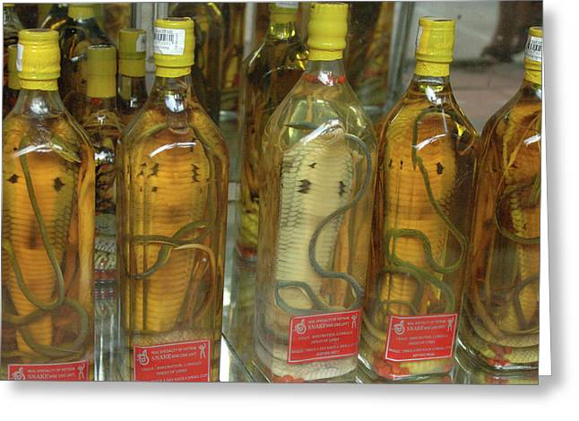 Asia, Vietnam Snake Wine For Sale Greeting Card