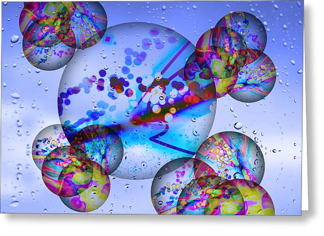Asian Bubbles In Rain Greeting Card