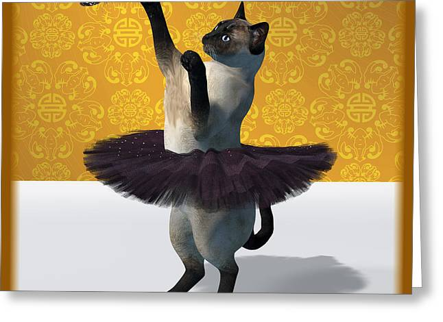 Asian Design Blue Siamese Ballet Cat On Paw-te  Greeting Card by Andre Price