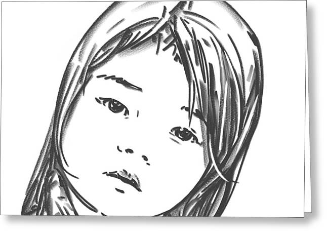 Greeting Card featuring the drawing Asian Girl by Olimpia - Hinamatsuri Barbu