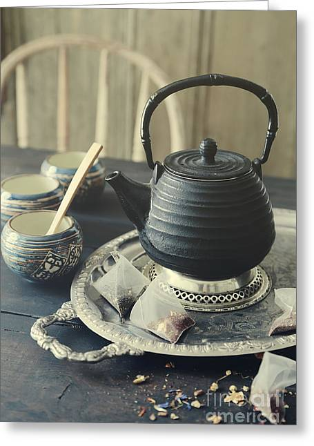 Greeting Card featuring the photograph Asian Teapot With Cups And Herbal Bags Of Tea by Sandra Cunningham