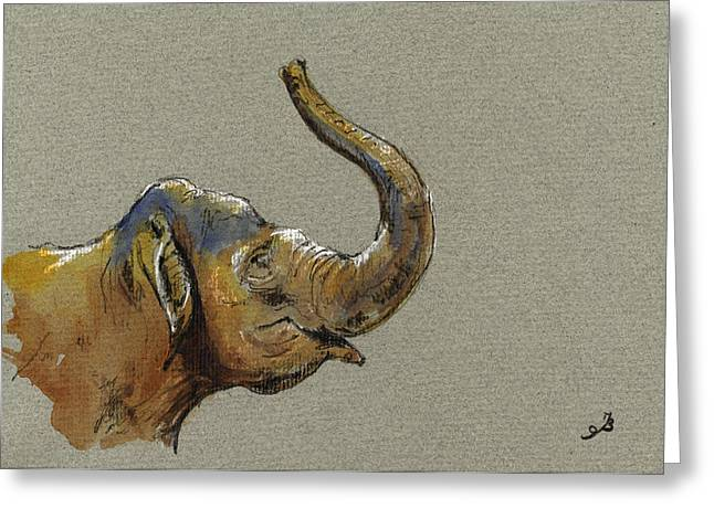 Asiatic Elephant Head Greeting Card by Juan  Bosco