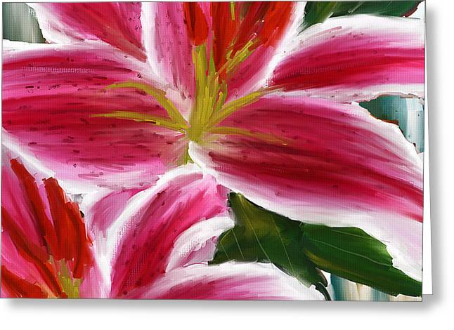 Asiatic Lily- Asiatic Lily Paintings- Pink Paintings Greeting Card