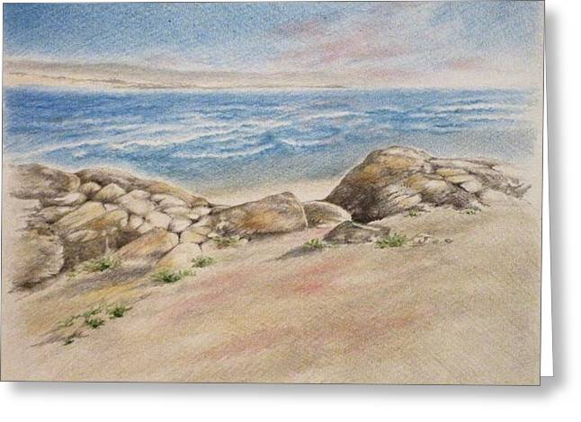Asilomar Rocks Greeting Card by Renee Goularte