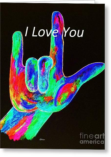Asl I Love You On Black Greeting Card by Eloise Schneider