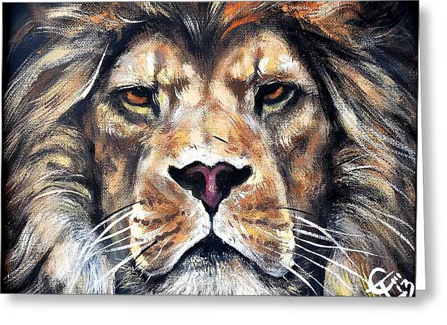Aslan Greeting Card by Tom Carlton