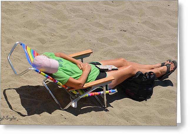 Asleep At The Beach Greeting Card by Floyd Snyder
