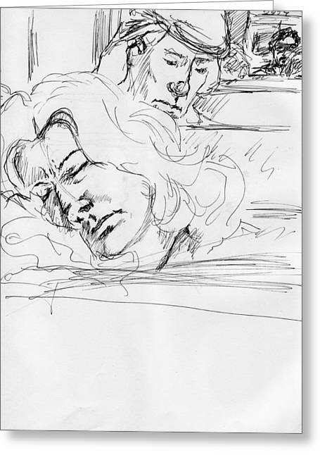 Asleep On A Train Greeting Card by Phil Welsher
