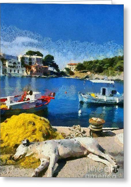 Asos Village In Kefallonia Island Greeting Card by George Atsametakis