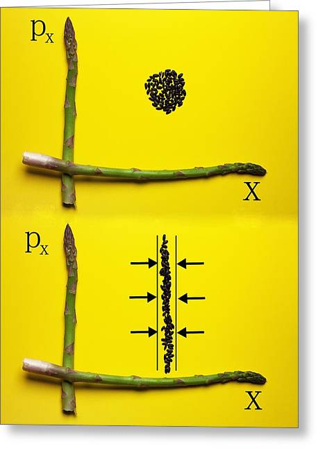 Greeting Card featuring the photograph Asparagus And Black Rice Depicting Heisenberg Uncertainty Food Physics by Paul Ge