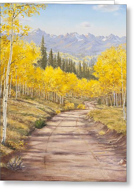 Aspen Trail Greeting Card by Frances Lewis