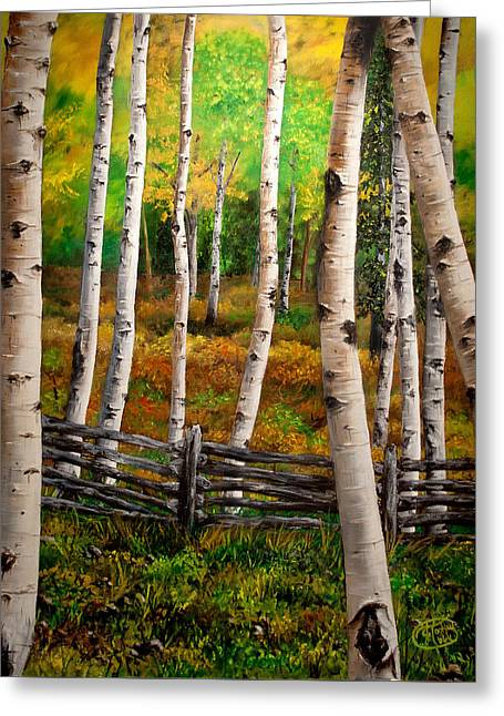 Aspen Meadow Greeting Card by Jessica Tookey