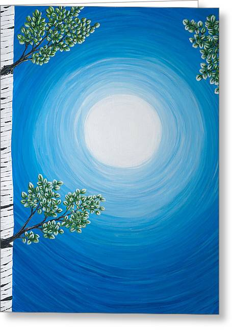 Aspen Moon 2 Triptych Greeting Card by Rebecca Parker
