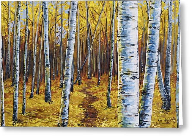 Greeting Card featuring the painting Aspen Trail by Aaron Spong