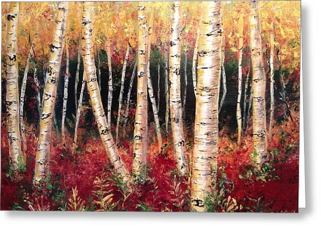 Aspen Woodlands Greeting Card by Amy Wyatt