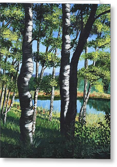 Aspens And Pond Greeting Card by Timithy L Gordon